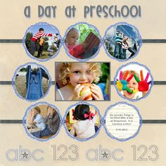 A Day at Preschool scrapbook layout created with My Digital Studio software from Stampin' Up!