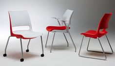 Dõni by KI - The design of this stacking chair combines hip-articulating comfort, back flex and body-conforming curves. The polypropylene shell, made through a two-shot injection-moulding process, comes in 13 solid and nine two-tone standard colours, but can also be colour-matched or customized.