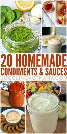 Homemade Sauces & Condiments We've got more than 20 Homemade Condiments and Sauces perfect for making this summer - they make great gifts, too! Summer just wouldn't be summer without barbecues, fresh veggies and all the yummy sauces and Homemade Spices, Homemade Seasonings, Sauce Barbecue, Cuisines Diy, Marinade Sauce, Seasoning Mixes, Snacks, Canning Recipes, Sauce Recipes