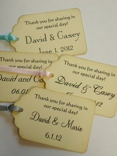 Thank You For Sharing in Our Special Day Custom Wedding Gift Tag 100 Pieces with Ribbon, $63.0