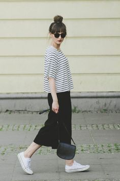 Striped tee by H&M, black culottes by Primark and black chucks.: