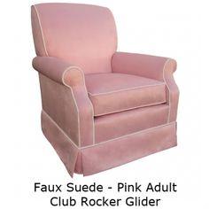 Angel Song Faux Suede Adult Club Rocker Glider: Custom Nursery Glider   Dada Baby Boutqieu