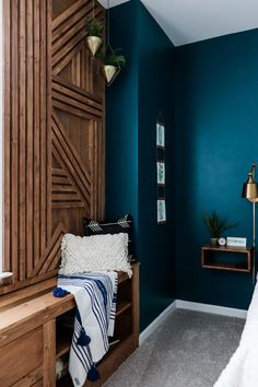 Learn how to make a DIY geometric accent wall in this step-by-step tutorial. Make a statement and add interest to any room with this accent wall tutorial! I promise it's easier than it looks. Faux Brick Panels, Brick Paneling, Accent Wall Bedroom, Bedroom Decor, Accent Wall In Bathroom, Woodsy Bedroom, Bedroom Ideas, Bedroom Lighting, Home Renovation