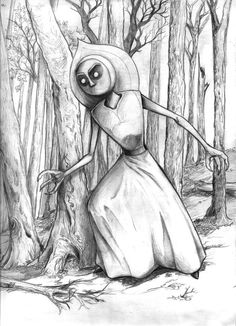 """""""The Flatwoods Monster,"""" from a Cryptids Series, by Scott Woodard of StrangeView Studios"""
