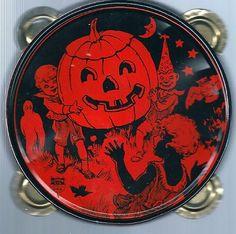 Vintage Halloween Noisemaker ~ J. Chein Tin Tambourine w/ Children & Jack O' Lantern * Circa, 1920's