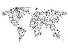 World map white Art Print