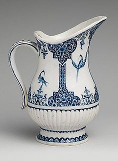 Antique 1720 French Ewer at the Metropolitan Museum of Art, New York - Blue and white porcelain pieces like this one were inspired by imported pieces from China.