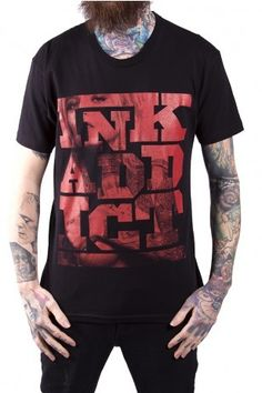 Ink Addict Alloy Stack Mens Tee - Sale  Go big and bold. This ink is so big, we had to stack the letters on each other! A true InkAddict always finds more room for tattoos, and we always find room for INK!
