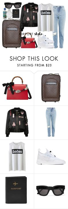 """""""Untitled #4351"""" by dkfashion-658 on Polyvore featuring Gucci, Louis Vuitton, Hyein Seo, Topshop, Filling Pieces, FOSSIL, Acne Studios and Olivia Burton"""