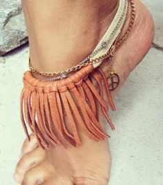 Tassel allemande en métal argenté Frange Bracelet Paire cheville plage Barefoot Bijoux Boho