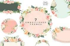 This set is included in our huge Watercolor Mega Bundle - over 2000 elements from 24 sets with off - Peaches & Cream Flower Graphic Set . Watercolor Texture, Watercolor Flowers, Leaf Images, Flower Circle, Create Invitations, Flower Graphic, Cream Flowers, Photoshop Illustrator, Flower Arrangements