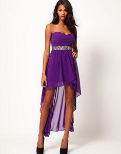 TFNC Hi Lo Bandeau Dress with Embellished Waist