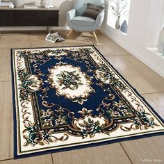 """Allstar Blue Woven High Quality Rug. Traditional. Persian. Flower. Western. Design Area Rug (7' 7"""" x 10' 6"""")"""