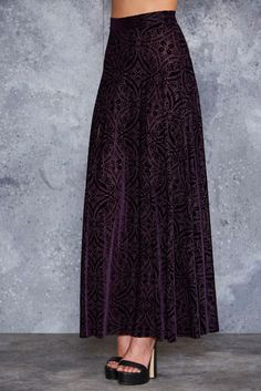 Burned Velvet Aubergine Single Split Maxi Skirt - LIMITED ($99AUD) by BlackMilk Clothing