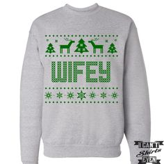 Wifey. Ugly Christmas Sweater. Tacky Christmas Sweatshirt. Merry Christmas Sweater.
