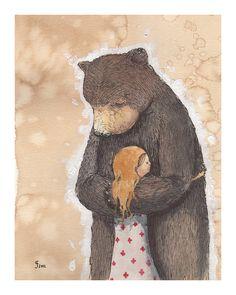Bear Hug limited edition giclee print by grahamfranciose on Etsy 8/26/14
