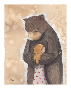 Bear Hug limited edition giclee print by grahamfranciose on Etsy