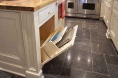 Place for cookie sheets and cutting boards
