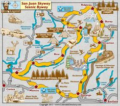San Juan Skyway Scenic Byway Map in South West Colorado, Colorado Vacation Direc. Pagosa Springs Colorado, Telluride Colorado, Alberta Canada, Honduras, Oklahoma, Denver, San Juan Mountains, Colorado Mountains, Rocky Mountains