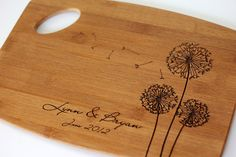 Personalized/ Engraved Cutting Board with Dandelions Design 11Hx15L, Personalized Wedding Gift, Bamboo, Custom Cutting Board, Wedding Gifts