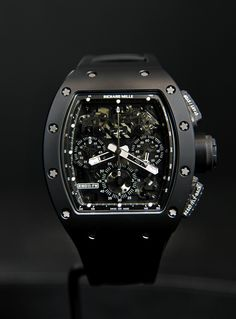 Richard Mille RM 011 Automatic Flyback Chronograph Black Phantom - The case of the Black Phantom is made from extremely scratch-resistant Black TZP ceramic, which has been sandblasted for an impeccable matte finish that will prove very popular with the new generation of collectors. Meanwhile, the center caseband, crown and pushers are crafted from NTPT® (North Thin Ply Technology) carbon. This incredibly strong and light material has appeared in several of the brand's watches, including the…