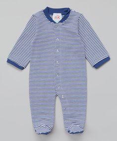 Look at this #zulilyfind! Navy Stripe Footie - Infant by nktoo by Nohi Kids #zulilyfinds