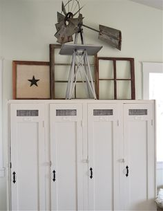 Awesome lockers!kira muller via Urban Farmgirl onto home: rustic, casual, neutral, seasoned, weathered
