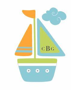 Nautical Nursery art Navy Lime Orange Sailboat by PeanutAndButtons