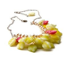 Pink Yellow beaded necklace Bib Necklace by CherylParrottJewelry, $71.95