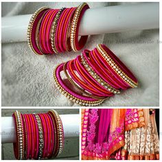 Indian Silk Thread Jewelry Set 30 Handmade Lehanga Bangles