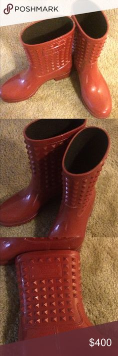VALENTINO ROCKSTUD RAINBOOTS Gorgeous excellent condition Valentino Rockstud Rain Boots. One of a kind, completely sold out EVERYWHERE. These will come with the box and authenticity card. They are in amazing condition and the soles are beautiful. Valentino Shoes Winter & Rain Boots