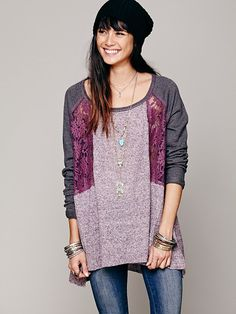 Free People Colorblock Lace Inset Pullover, 118.00