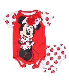 Love this Red Minnie Mouse Bodysuit & Diaper Cover - Infant on #zulily! #zulilyfinds