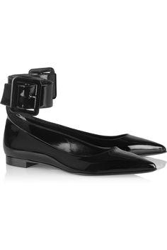 Saint Laurent | Patent-leather point-toe flats | NET-A-PORTER.COM