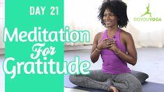 day daily meditation challenge: meditation for gratitude. Daily Meditation, Meditation Practices, Hunter Day, Gratitude Day, Yoga Mantras, Dealing With Stress, Yoga Benefits, Yoga Videos, Yoga Challenge