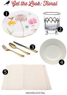 produtos mesa posta floral com detalhes dourados.