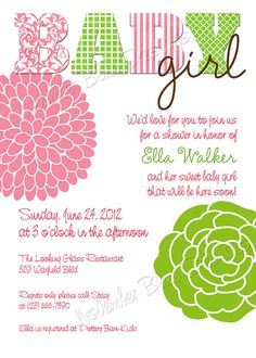 Pink Limeade Baby Shower Invitation  GIRL  by NovemberBlueDesigns, $15.00