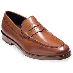 Cole Haan Dress Revolution Hamilton Grand Leather Penny Loafers ($280) ❤ liked on Polyvore featuring men's fashion, men's shoes, men's dress shoes, mens dress loafers shoes, mens woven leather slip-on shoes, mens breathable shoes, breathable mens dress shoes and mens slip on dress shoes