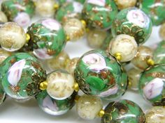 Vintage Venetian Murano Gold Foil Green Pink by DianasChicBoutique