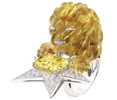 "Chanel ""Constellation du Lion"" ring in 18-karat white and yellow gold set with 145 brilliant-cut diamonds for a total weight of 2.4 carats, a 10-carat cushion-cut yellow diamond and a 70-carat fancy-cut golden rutilated quartz."