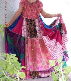 AuraGaia ~SummerBreeze~ Boho Hippie Tiered Sun Dress OverDyed Upcycled XL-2X