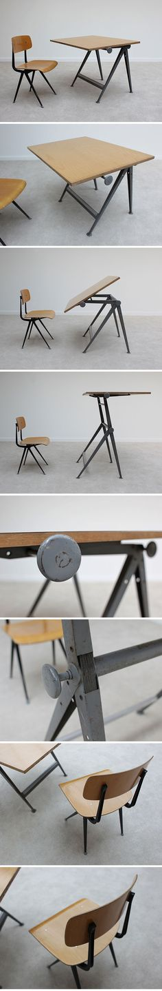 Industrial drafting table and chair designed by Friso Kramer, dated 1965