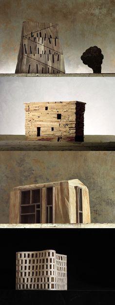 Michele De Lucchi - Architekturchen, wooden models (architectures de bois) 2010
