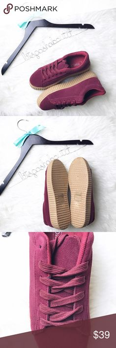 "🆕 "" Madison "" Burgundy Platform Sneakers These are brand new , suede , burgundy , lace up  , platform sneakers . Shoes Sneakers"