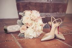 Roses, peonies, lace, crystals, and sparkly Louboutin's..... Bridal romance perfection!