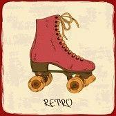patinaje sobre ruedas : Ilustración con patines retro sobre un fondo grunge