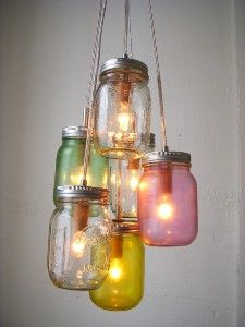 What a great idea for a casual dining room light #mason jar #light #chandelier