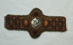 bead embroidery trim cuff | Athena Beaded Embroidery Cuff.