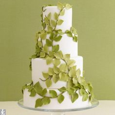 Wedding Cakes – Earthy Green.. This is great inspiration to just use #leaves. Lots of possibilities!