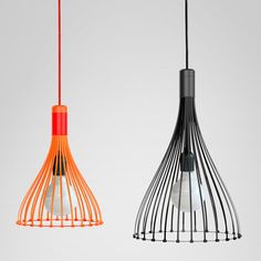 Twenty-six cable ties make up this pendant lamp that London studio Vitamin is exhibiting at Clerkenwell Design Week.  The black and orange industrial ties are locked into place by a turned wood and spun metal component at the top and a steel cog at the bottom. The different diameters of these elements cause the ties to curve outward towards the base. //